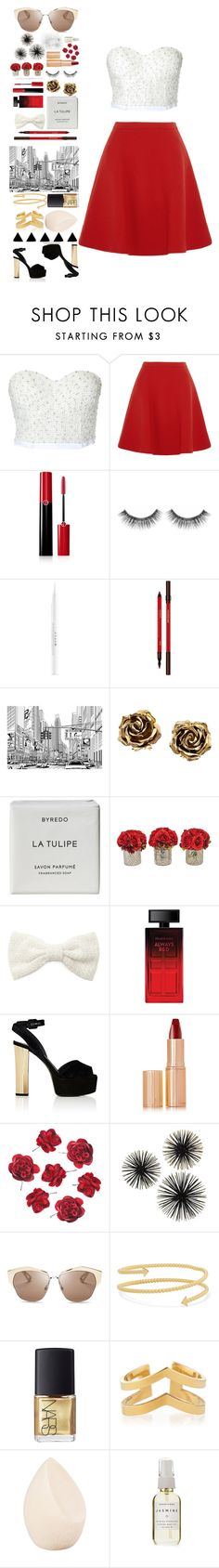 """red skirt"" by retro-obsessed ❤ liked on Polyvore featuring Miu Miu, Giorgio Armani, Sephora Collection, Stila, Hourglass Cosmetics, Tiffany & Co., Byredo, Forever 21, Elizabeth Arden and Giuseppe Zanotti"