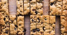 Watch and learn how to make peanut butter and tart cherry blondies with chocolate chips.
