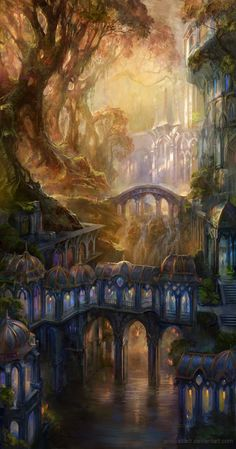 ✮ ANIME ART ✮ fantasy. . .forest. . .architecture. . .kingdom. . .magical. . .amazing detail