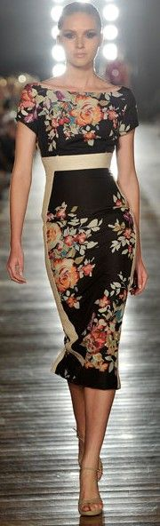 Gorgeous Floral on Black Sheath | Floral & Bling-Very Nice And Sexy Dress-Good For Wedding Party Or Every Other Party-Fashion Fall 2014