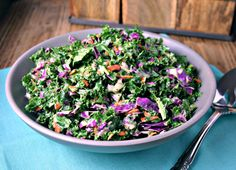 Kale Slaw Recipe Salads with baby kale, red cabbage, shredded carrots, mayonnaise, milk, white wine vinegar, honey, poppy seeds, salt