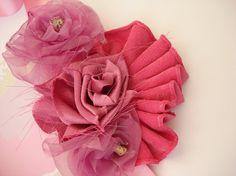 Shabby chic Frayed Pink Ribbon Fabric flower Rose Flowergirl Wedding Dress Sash Belt
