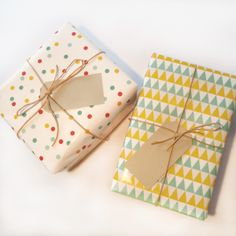 A set of really pretty wrapping paper with confetti and a scandinavian pattern by Oktoberdots