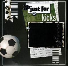 12x12 Premade Soccer Scrapbook Page  Just by SusansScrapbookShack, $15.95