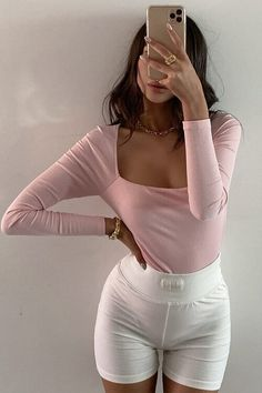 Square up. Our SHE IS US THE LABEL CECE BODYSUIT features a square neckline, long sleeves, double layering, a gusset popper fastening and stretch throughout the garment. Online Boutiques, White Jeans, Bodysuit, Long Sleeve, Sleeves, Pink, Tops, Fashion, Onesie