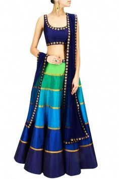 Dark Blue and Green Border Worked Lehenga Choli Set