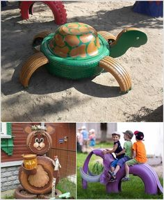 Interesting DIY Ideas to Recycle Old Tires With Animals Crafted from Tires