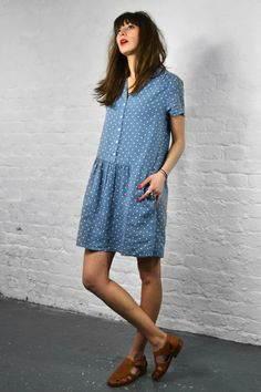 polka dot denim dress /The Mercantile London Fashion Mode, Look Fashion, Fashion Outfits, Womens Fashion, Harris Wilson, Looks Pinterest, Looks Style, My Style, Fashion Vestidos