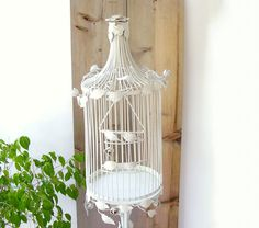 Antique Italian Tole Bird Cage Vintage Metal Birdcage Cottage chic White Rosebud Birdcage with Stand (568.99 USD) by OceansideCastle