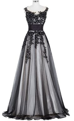 Long Prom Dress 2017 Elegant Black Appliques Sleeveless