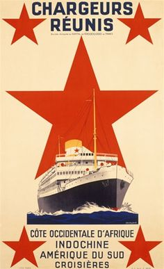Chargeurs Reunis 1937 France - Beautiful Vintage Poster Reproductions. This vertical French travel poster features a cruise ship at sea with a large red star behind it and 4 more, one in each corner. Giclee Advertising Print. Classic Posters