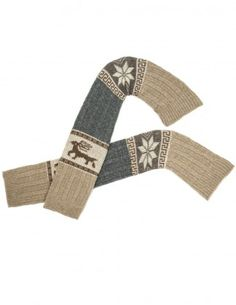 Dahlia Women's Wool Blend Leg Warmers - Snowflake and Reindeer