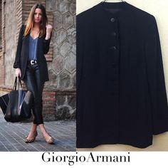 Giorgio Armani blazer Giorgio Armani Milano Borgonuovo 21 vintage before 1999. Made in Italy size 42 which is a U.S. Medium The fabric and care tags were removed but size tag is still attached. No damages. No collar button down with ruching detail in the back. $500 Giorgio Armani Jackets & Coats Blazers