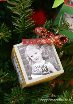 DIY Photo Block Christmas Ornaments     ItHappensinaBlink.com     Make your own photo block ornaments for gift giving or decor