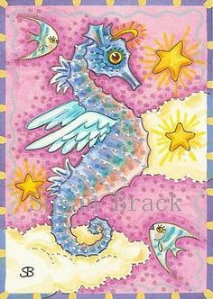 Art+'ALL+GOOD+SEAHORSES+GO+TO+HEAVEN'+-+by+Susan+Brack+from+SEAHORSE