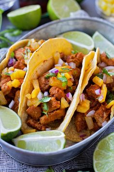 If you love sweet and spicy pork, you are going to fall in love with these homemade tacos al pastor! They're easy to make and packed full of flavor.