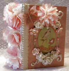 """PURE JOY"" butterfly birds shabby vintage premade scrapbook album"