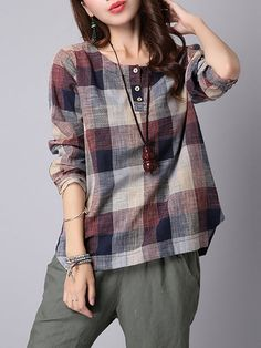 1ba6cc2b8a4 Long Sleeve Crew Neck Plaid Buttoned Printed Linen T-Shirt