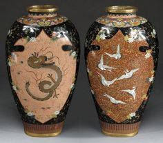 A Pair of Japanese Cloisonne Vases with Cranes and Dragons