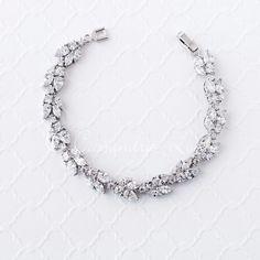 Rose Gold Bridal Bracelet with Marquise Leaf CZ
