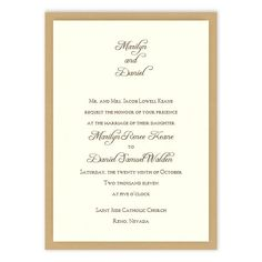 White and Gold Wedding. Abbey 2-Layer Wedding Invitations by MyGatsby.com