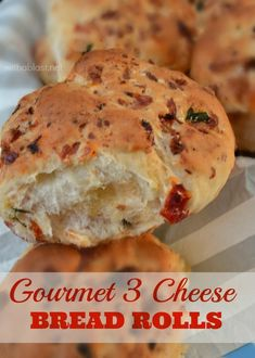 Not only 3 Cheeses in these Gourmet Bread Rolls, Tomato, Basil and more as well {easiest recipe ever !}