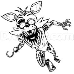 How To Draw Foxy The Fox, Five Nights At Freddys, Step by Step, Drawing Guide, by KingTutorial Fnaf Coloring Pages, Pirate Coloring Pages, Fox Coloring Page, Monster Coloring Pages, Coloring Sheets, Five Nights At Freddy's, Fnaf Drawings, Drawing Sketches, Drawing Guide
