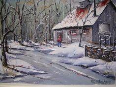. Barns, Pastel, Sugar, Watercolor, Natural, Winter, Crafts, Painting, Outdoor