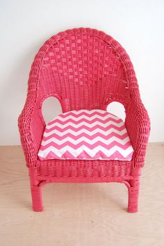 Pink Wicker Childrens Chair with Pink and White Chevron Cushion by cococakes liked from a luxurious wicker sofa.