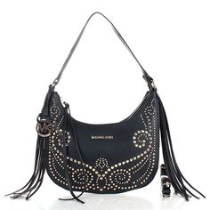 Cheap Michael Kors Rhea Stud Metallic Small Black Crossbody Bags Clearance
