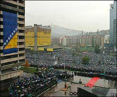 a crowd of thousands gathered in Sarajevo at the memorial service for Bosnian politician & wartime leader Alija Izetbegovic. Central Europe, Bosnia, Politicians, Paris Skyline, Crowd, Identity, Around The Worlds, Travel, Image