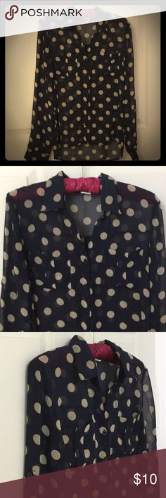 Sans Souci Button Front Long Sleeved Top Button Front Collared Top  2 Pockets on chest Navy with tan polka dots Back is longer than Front  Looks great with Leggings and boots! 100% Polyester  One small pull on front (last picture), no hole Sans Souci Tops Button Down Shirts
