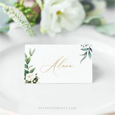 Wedding Place Cards template, Greenery Wedding Place Name Card, White Rose wedding, INSTANT DOWNLOAD, Printable, Editable Template, ALICE 2 by DIYPaperPrints on Etsy