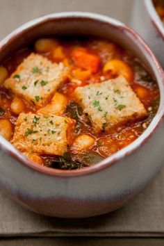 Minestrone Chard Soup with Garlic Croutons, from Easy Eats - swiss chard in soup is my new favourite this year, and these croutons are great