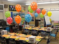 How excited would this make the kids?  Have balloons (with each child's name) around room at meet the teacher day - get to take home