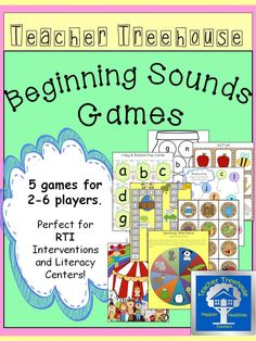 5 unique games designed for 2-6 players. They are perfect for RTI Interventions and Literacy Centers. The games are all in color and include instructions.