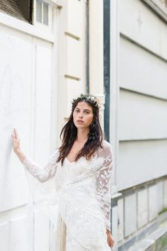 Rue De Seine: Young Love in Paris. Accessories, gorgeous Bridal collection, detailed lace. www.trulyandmadly.com #bridal #wedding #gown #wreath
