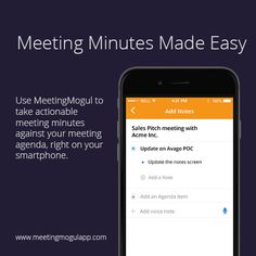 Did you know you could take quick #meeting minutes using the notes feature in #MeetingMogul?