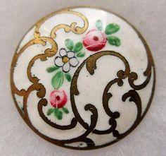 Exceptional-LARGE-Antique-Vtg-French-Champleve-ENAMEL-BUTTON-White-w-Flowers Dichroic Glass, Fused Glass, Romanesque Art, Vitreous Enamel, Celtic Art, Sewing A Button, Casket, Carving, Buttons
