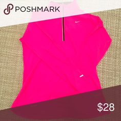 NIKE Pink Quarterzip Pullover Hot pink color. Barely worn! Nike Tops Sweatshirts & Hoodies