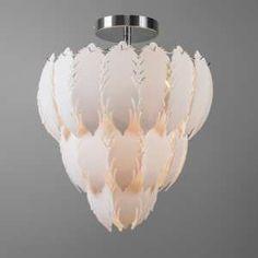 """Plafón FEATHER cromo - Bonita lámpara para techo con muchas """"plumas"""" de plástico colgando sobre un marco cromado. Es una preciosa lámpara a muy buen precio."""
