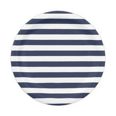 Nautical Blue And White Stripes Wedding / Party Paper Plate - wedding cyo special idea weddings