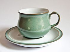 $19 ! Denby Regency Green - Cup & Saucer Duo