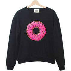 PINK DONUTS sweatshirt jumper hipster grunge retro paris fashion tumblr heart swag dope cara sweet funny cool teen swag girl social alone
