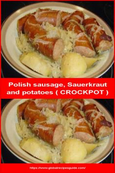 Ingredients 2 ounce) cans sauerkraut, undrained (or 1 pound) or 6 potatoes, peeled and cut into large chunks 1 cup water 1 pound Polish sausage, cut into chunks (could use smoked sausage) 1 teaspoon caraway seeds 1 bay leaf teaspoon pepper. Sausage Crockpot, Crockpot Recipes, Cooking Recipes, Healthy Recipes, Healthy Food, Crock Pot Potatoes, Sausage Potatoes, Polish Sausage Recipes, Sausage Sauerkraut