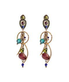 Blue & Red Stone Swoop Drop Earrings #zulily #zulilyfinds
