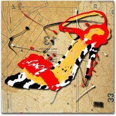 Trademark Fine Art Zebra Heel Red Canvas Art by Roderick Stevens, Size: 14 x 14, Multicolor