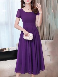 Elegant Chiffon Swing Midi Dress