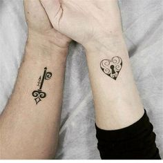 60 Meaningful Unique Match Couple Tattoos Ideas - New tattoos - Tattoo Tattoos Para Casais, Pair Tattoos, Key Tattoos, Mini Tattoos, Trendy Tattoos, Unique Tattoos, Small Tattoos, Tattoos For Women, Tattoos For Guys