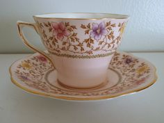Vintage Antique Rosina Bone China Teacup & Saucer Pink/Flowrs/Gold England #5066